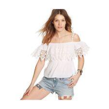 Denim Supply Ralph Lauren Lace-trim Cotton Crochet Blouse White M NWT
