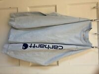 Mens Medium Carhartt Original Fit long sleeve Tshirt light blue and Navy