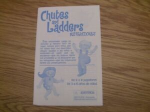 CHUTES AND LADDERS Board Games 1999 Replacement Parts-Spanish instructions