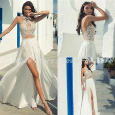 2019 Beach Wedding Dresses Jewel Neck Lace High Slits Boho Bridal Dresses Custom