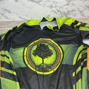 Primal Wear Cycling Jersey Men's XL 3 Pocket Black Green Tree Nature EUC