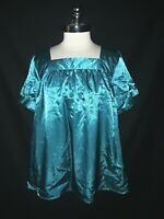 NEW LANE BRYANT Plus Size 2X 18 20 Blouse Shirt Top Teal Shiny Short Sleeve