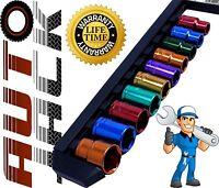 "1/2"" Drive Metric Socket Set 10 Piece 13mm - 24mm Multi Coloured Sockets + Rail"