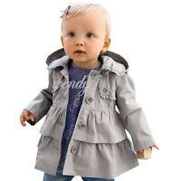 Children Baby Girls Winter Warm Trench Wind Coat Hooded Jacket Outwear Clothes