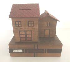 "1940's Vintage Wooden Slide Trick Bank NATIONAL SAVINGS 2 buildings 5.5"" tall"