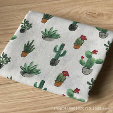 50x150cm Cotton Linen Fabric DIY Craft Material Print Flowering Cactus Cacti 8 F