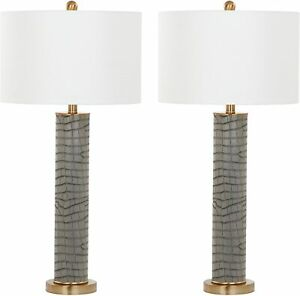 Safavieh Faux Crocodile Table Lamp  Set of 2, in Grey & Gold Accent 80H x 38cmW