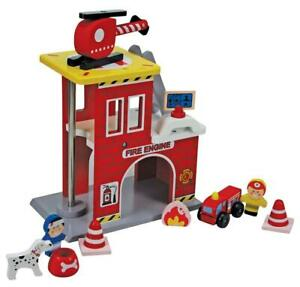 Wooden Fire Rescue Station Play Set with 13 Pieces Includes Wood Figures 18m+