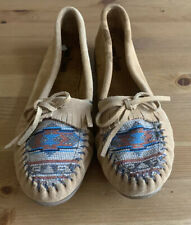 Minnetonka Size 11 Shoes Moccasin Suede Fringe Embroidery Aztec Native