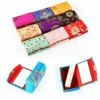 Chic Double Capacity Women Silk Brocade Lipstick Holder case WITH MIRROR Makeup.