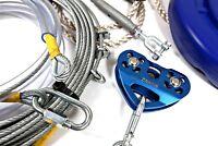 Heavy Duty  Zip Line Complete 40 Mtr Kit Galv Steel Wire 8.0mm Dia Great Fun