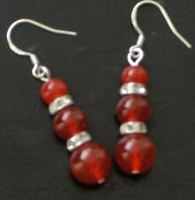 REAL NATURAL RED JADE SOLID STERLING SILVER EARRINGS 1.75