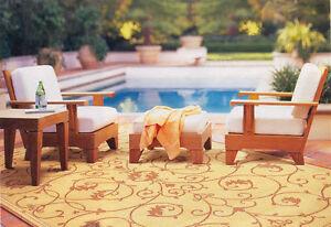 Caranas A-Grade Teak Wood 3pc Outdoor Garden Patio Sofa Lounge Chair Ottoman Set