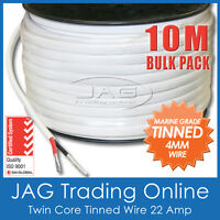 10M x 4mm MARINE GRADE TINNED TWIN SHEATH 2-CORE WIRE / BOAT ELECTRICAL CABLE