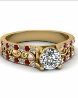 Vintage 1925s 2.ct Round Ruby & Diamond 14k Yellow Gold Over 925 Engagement Ring