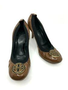 Tory Burch Brown Patent Pumps Black Elastic Round Toe Wooden Block Heel Size 6M