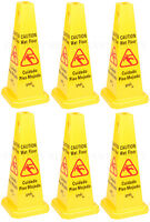 "6 PACK Restaurant Caution Wet Mop Bucket Floor Yellow 27"" CONE Sign Commercial"