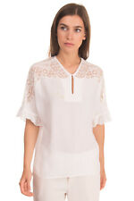 RRP €150 SANDRO Top Blouse Size 2 Lace Insert Ruffle Keyhole Front Short Sleeve