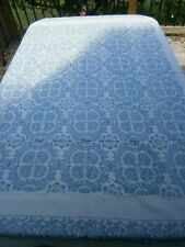 """Vintage White Linen Tablecloth W Blue Flowers 68"""" X 52"""" Fromholtzer NWT"""