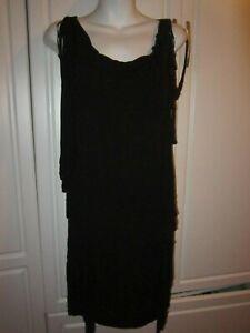 NWOT Michael Kors Woman Black Fringe Sleeveless Body Con Dress Size XS/XP