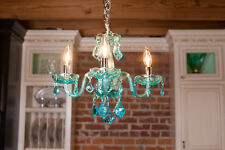 USA BRAND Clarion 4 Light Coral Blue Turquoise Crystal Mini Small Chandelier 16""