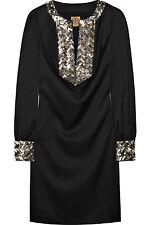 $650 NWT TORY BURCH Black Beaded Satin Statement Dress ELEGANT Cocktail Formal 2