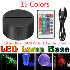 15 Color LED Lamp Base For 3D Illusion Acrylic Light Panels with Remote Black
