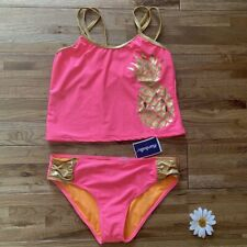 NWT Hot Pink Tankini Pineapple Swimsuit Size 14-16