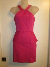 bebe XS Mini Dress Vibrant Bright Pink Fuchsia Bodycon Peplum Cocktail Party