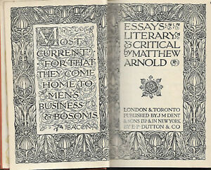 Essays Literary and Critical by Matthew Arnold 1928 vgc