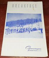 Vintage 1968 Grossinger's Resort Hotel Restaurant Menu breakfast/lunch menu