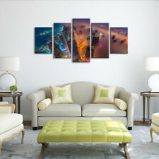 Aerial View Of City Skyline At Twilight 5 Panel Canvas Print Wall Art Home Decor