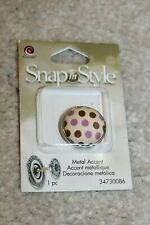 1 pc Purple Brown Polka off white Dot Fabric Covered Snap In Style Cousin Snaps