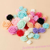 15/30Pcs Mixed Resin Rose Flower Flatback Appliques Phone/Craft  DIY 18MM Hot