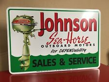 Johnson Sea Horse Outboard motor metal sign size 12 x 18 Marina (New)