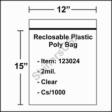 2 mil Reclosable Poly Bag 12x15 Clear Ziplock cs/1000 (123024)