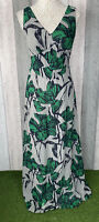 HOBBS Invitation Grey 100% Silk Green Floral Floaty Maxi Dress Size 10 Occasion