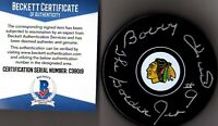 "BECKETT-BAS BOBBY HULL ""THE GOLDEN JET"" AUTOGRAPHED CHICAGO BLACKHAWKS PUCK 9019"