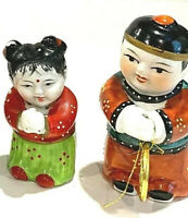 Chinese VTG Jade maiden and Golden Boy hand painted porcelain figurines set Of 2
