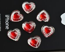 25pcs - RED Sparkly Heart Flatbacks 12mm = Lots of Bling