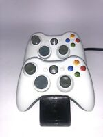 Microsoft Xbox 360 Lot Of 2 Black Wireless Controllers With NYKo Charge Base S