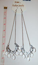 "KAY IMPORT Fashion Jewelry EARRINGS 7"" Teardrop Crystal SWAG Silver & Clear"