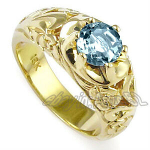 MEN'S SOLID 18K Y/ GOLD & NATURAL AQUAMARINE ROCOCO DESING RING size 7 to 14
