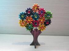Balinese Handmade ornamental beaded wooden tree of flowers - multi coloured