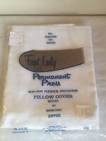 VINTAGE FIRST LADY PERMANENT PRESS PILLOW COVER #180 WHITE NOS