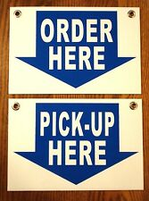 Order Here Amp Pick Up Here Plastic Coroplast Signs 8x12 Withgrommets Restaurant Bw
