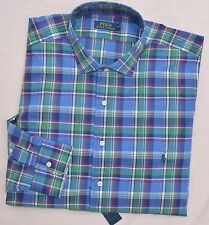 New 3XB  3XL BIG 3X POLO RALPH LAUREN Men button down dress shirt blue green 19