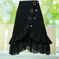FT- Women's Steampunk Gothic Style Black Lace Splicing  Buckle Skirt Ornate