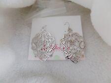 Premier Designs Jewelry DARCY Silver tone drop hoop dangle  Earrings