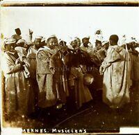 MAROC Meknès Musiciens c1910, Photo Stereo Vintage Plaque Verre VR7L6